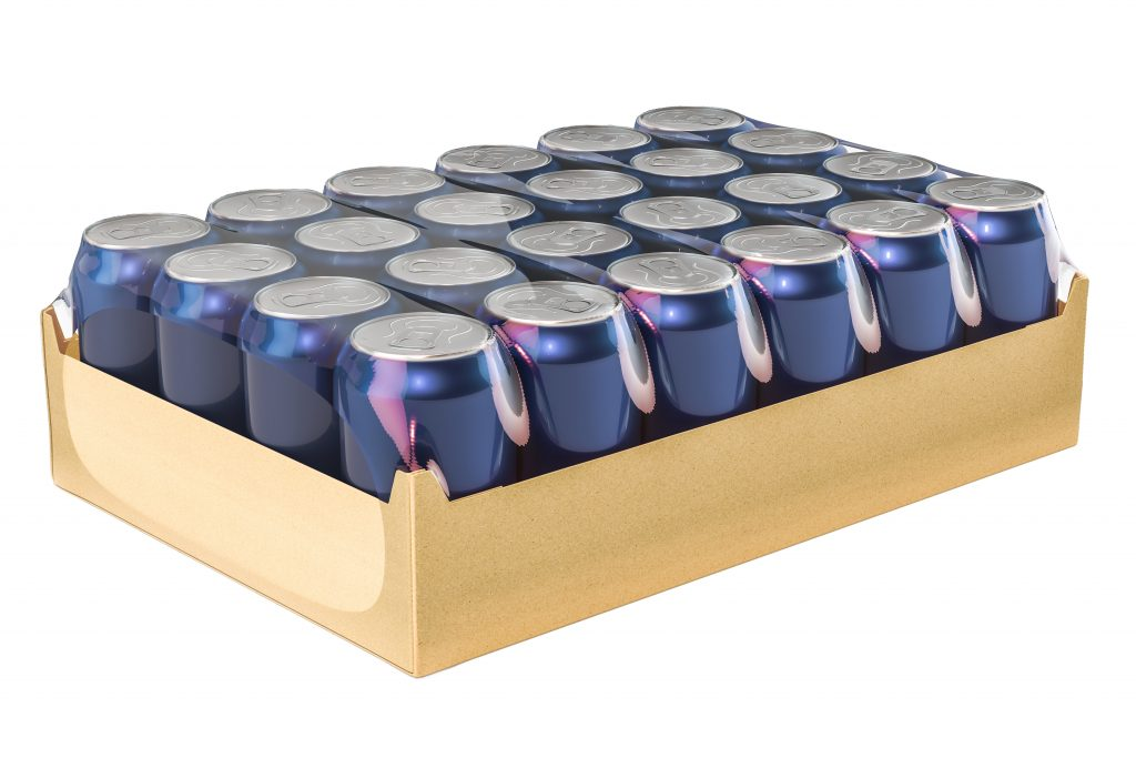 Package of metallic drink cans in shrink film