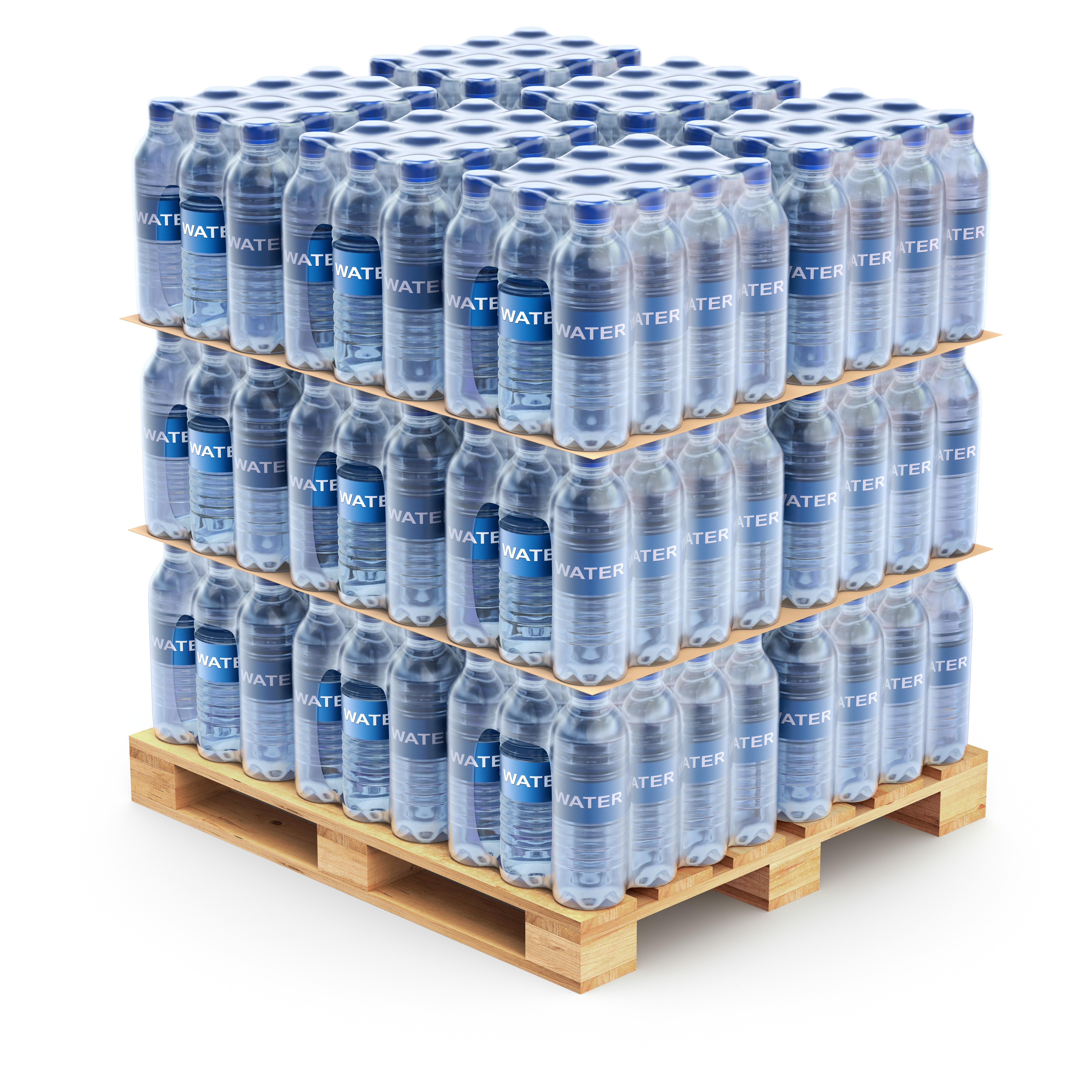 Plastic PET bottles on the pallet